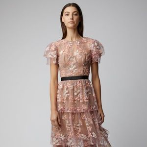 Self-portrait midi pink floral dress